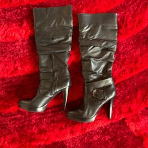 "I.N.C. Posh Black Leather Boots, 4"" heel, size 9.5"